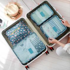 6pcs/set Waterproof Women Travel Bag Organizer Nylon Mesh Bag Men Packing Luggage Travel Bags Clothes Shoes Pouch Storage Bag