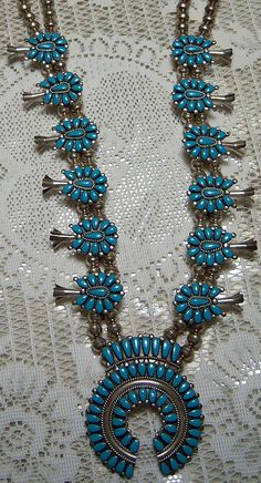 """Jewelry -- Genuine turquoise """"squash blossom"""" necklace made by Arizona Native American by bjebie, via Flickr"""