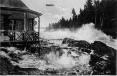 Imatran koski ja alapaviljonki tulvan aikaan, 1926.  Imatran kaupunginmuseon kuva-arkisto, E.A. Helmannin postikorttikokoelma, sivu nro 54