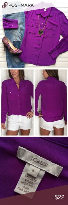 """J. Crew Silk """"Blythe"""" Blouse J. Crew Silk """"Blythe"""" Blouse   size 8; 100% silk . Classically styled blouse with button front, flap pockets on chest and slight ruching at shoulder   lightweight silk in royal purple that's stunning with white, yellow or turquoise!   dry clean only . EUC, smoke-free home . 20.5"""" UA to UA 25"""" sleeve 26.5"""" length J. Crew Tops Blouses"""