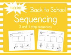 """These FREE Back to School Sequencing Cut and Glue Worksheets are for practicing 3 and 4 step sequences. Great for practicing pronouns """"he"""" and """"she"""" as well! The sequences included are: Eating Lunch (3 step) Coloring a Picture (4 step) For more free back to school activities check out my blog post about all the great, free back to school activities for speech therapy on TPT I have found!"""