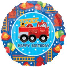 18'' Fire Engine Fun Happy Birthday F Balloon (Pack of 5)
