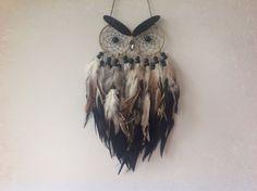 - Cream and Black Multi Feather Owl Dreamcatcher