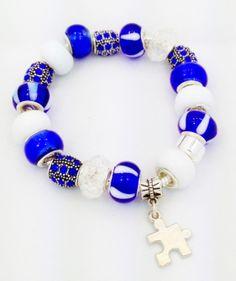 Blue Autism European Style Charm Bracelet on Etsy, $20.00