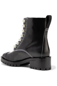 3.1 Phillip Lim - Lug Sole Zipper Embellished Leather Ankle Boots - Black