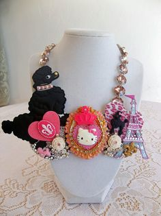 Paris themed bib style kitty necklace by gumdropglamour on Etsy, $65.00