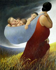 Russian artist Margarita Sikorskaia since 1990 lives in US. Mother Art, Mother And Child, Claudia Tremblay, Foto Baby, Wow Art, Fine Art, Renoir, Mothers Love, Baby Wearing