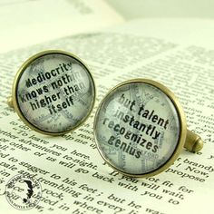 Sherlock Holmes Literary Cufflinks - Mediocrity Knows Nothing Cuff Links -  Steampunk Victoriana