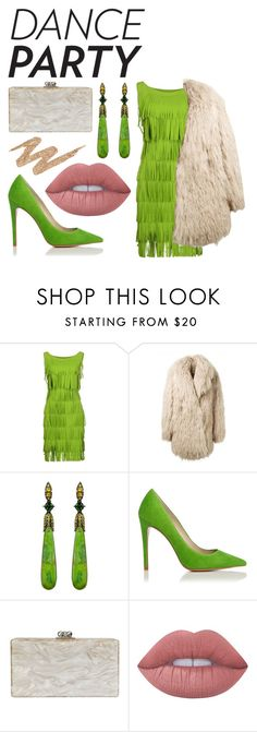 """Green Fringe"" by gracehundley ❤ liked on Polyvore featuring La Petite Robe di Chiara Boni, Alaïa, Annoushka, Edie Parker, Lime Crime, Urban Decay, GetTheLook, GREEN, contestentry and fashionset"