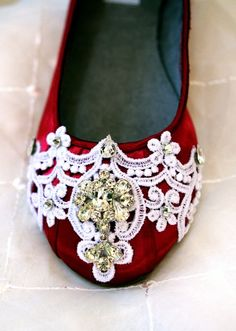 Red Wedding Flats with Lace and Crystal - LoveItSoMuch.com