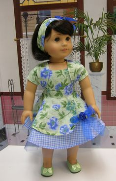 Garden Party Dress for American Girl doll with shrug. $55.00, via Etsy.