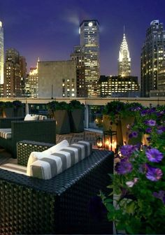 Rooftop of the Hotel Sofitel New York. Located in Midtown Manhattan 45 W St, New York