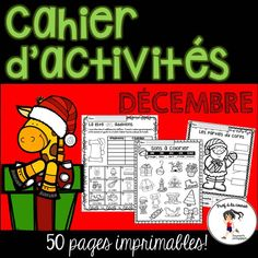 This Christmas pack contains 50 pages of easy, quick and fun math and literacy activities. Use for morning, homework, group or independent work and fast finishers. The best part is that there is NO PREP! Just PRINT! #centredelitteratie #literacycenter #centresdemaths #consciencephonologique #phonicsactivities #tempslibre #cahierdactivites #noel #profalacourse1
