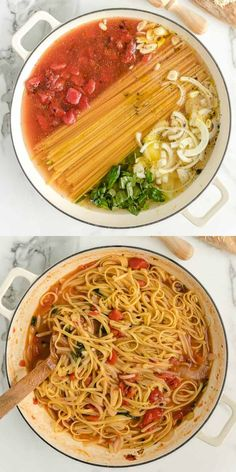 This simple one pot pasta recipe is ready in less than 30 minutes and cooks entirely in one pot. Not only does it taste delicious, but it's incredibly easy to throw together as a quick weeknight family meal. meals pasta One Pot Pasta Chicken Pasta Recipes, Easy Pasta Recipes, Easy Dinner Recipes, Cooking Recipes, Skillet Recipes, Cooking Gadgets, Pizza Recipes, One Pot Recipes, Pasta Ideas