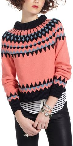 Shop for Tahko Fairisle Sweater by Anthropologie at ShopStyle. Sweater Outfits, Sweater Jacket, Vest, Pretty Outfits, Beautiful Outfits, Cute Outfits, Fair Isle Pullover, Look Fashion, Fashion Outfits