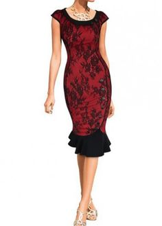Cap Sleeve Lace Knee Length Dress on sale only US$26.35 now, buy cheap Cap Sleeve Lace Knee Length Dress at modlily.com