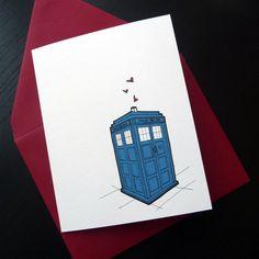 Who Loves You Tardis Individual Card: A2. $4.50, via Etsy.