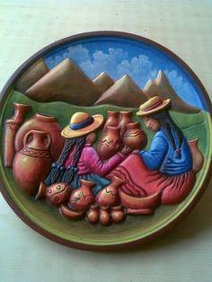 Foto: Art Péruvien, Mural Art, Peruvian Art, Clay Wall Art, Naive Art, Mexican Art, Native American Art, Clay Crafts, Stone Painting