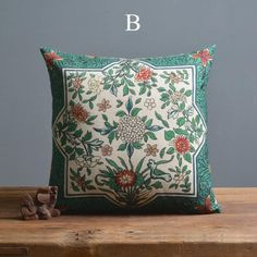 Chrysanthemum decorative pillows for couch Chinoiserie green sofa cushions