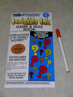 Inivisible Ink Game  Quiz Books   loved doing these.  Mom would get them for us to do vacation