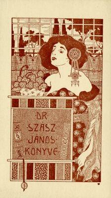 Ex libris by Kálmán Rozsnyay for Szász János, Book Writer, Belle Epoque, Book Illustration, Swirls, Amazing Art, Writers, Art Nouveau, Book Art, Arts And Crafts