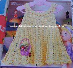 Receita de Crochê Infantil: Vestidinho de crochê  Tamanho 1/2 anos