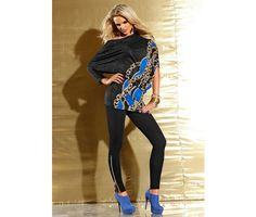 Leggings negri cu bluza cu imprimeu negru cu albastru