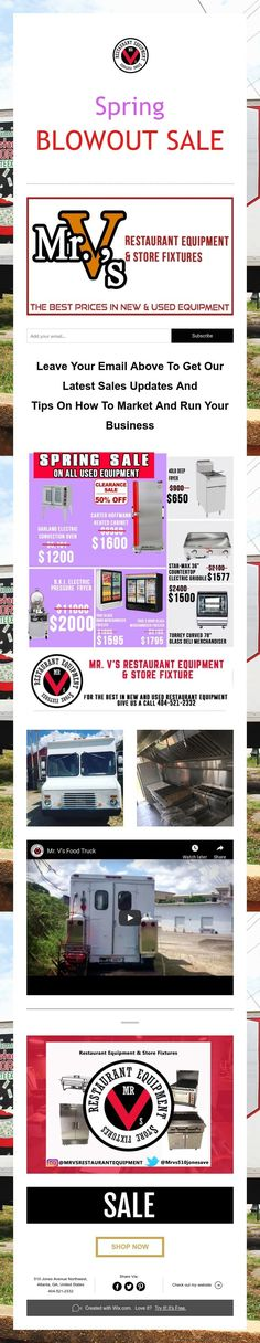 Spring  BLOWOUT SALE M Restaurant, Used Restaurant Equipment, Store Fixtures, Spring Sale, How To Get, Marketing, Tips, Counseling
