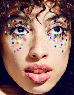 Nächstes Fasching geh ich als Konfetti ♥ Super creative makeup looks which we love. See more ideas a Makeup Inspo, Makeup Inspiration, Makeup Tips, Eye Makeup, Hair Makeup, Makeup Ideas, Freckles Makeup, Clown Makeup, Circus Makeup