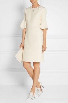 Fendi | Floral-appliquéd wool and silk-blend dress | NET-A-PORTER.COM