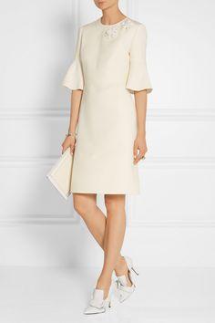 Fendi | Floral-appliquéd wool and silk-blend dress | NET-A-PORTER.COM