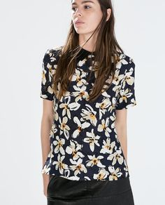 ZARA - WOMAN - PRINTED TOP WITH SHIRT COLLAR