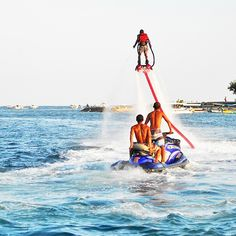 F l y  B o a r d i n g  Photo by http://www.flyboard-bali.com/gallery/main/ Photo location : Fly Board Bali, Jalan Pratama 106, Tanung Benoa, Nusa Dua, Bali  Flyboarding is an extreme water sport. A flyboarder stand on a snowboard / wakeboard that pushed up by a high pressure water force. This water force comes from a 200pk connected Jet-ski. A fly board rider is able to fly up to 5 metres in the air or to dive headlong through the water. Professional ones are able to fly up to 10 metres in