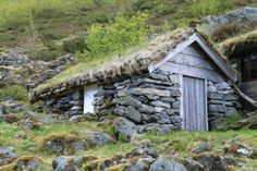 "Vernacular architecture: ""These were used during summers up until the 1960s and appear to be growing out of the boulders and moss covering the slope above the road. The rough-hewn stone, weathered boards, and birch-bark and grass-sod roof combine to provide a striking visual texture perfectly in harmony with their surroundings. There are lessons in these structures that can then be applied to more complex buildings."""