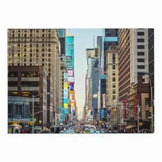 KESS InHouse Ann Barnes 'Sunset over 7th' Urban Photography Dog Place Mat, 13' x 18' ** Trust me, this is great! Click the image. (This is an amazon affiliate link. I may earn commission from it)