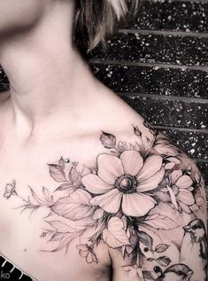 Gorgeous And Exclusive Shoulder Floral Tattoo Designs You Dream To Have; Time Tattoos, Leg Tattoos, Flower Tattoos, Body Art Tattoos, Small Tattoos, Sleeve Tattoos, Floral Tattoo Design, Tattoo Designs, Tattoo Ideas