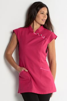 Estola Comercio Spa Uniform, Hotel Uniform, Scrubs Uniform, Rose Fuchsia, Western Tops, Uniform Design, Medical Scrubs, Spa Party, Scrub Tops