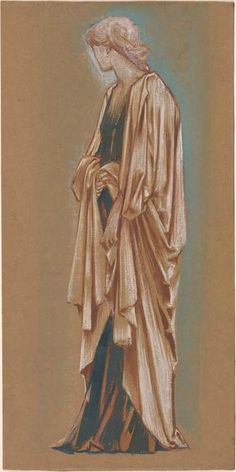 'Study of a Draped Figure' gouache on brown paper by Edward Coley Burne-Jones (1833-1898). Image and text courtesy The Morgan Library and Museum.