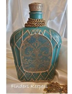 Crown Royal Bottle - Annie Sloan chalk paint with a Moroccan twist. Painted Chivas Regal bottle with decoupage panel scanned from an antique book cover #chalkpaint by marcia