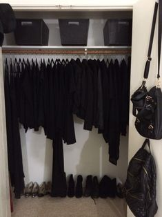 All black everything- I wish my closet looked like this!
