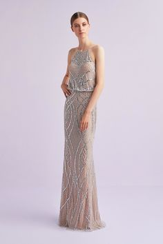 Feel like a goddess in this slim-line stunning dress. Featuring beaded detail from top to bottom this dress is sure to make you stand out. Art Deco Bridesmaid Dresses, Art Deco Bridesmaids, Bridal Dresses, Prom Dresses, Formal Dresses, Occasion Wear, Occasion Dresses, Silver Gown, Stunning Dresses