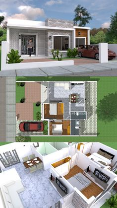 Simple Home Design Plan with 2 Bedrooms - SamPhoas Plansearch Simple House Plans, My House Plans, House Plans With Photos, Bedroom House Plans, Modern House Plans, House Floor Design, Simple House Design, Minimalist House Design, Modern House Design