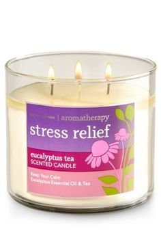 Stress Relief - Eucalyptus Tea - Candle - Bath & Body Works - The Perfect Candle! Made using the highest concentration of fragrance oils, an exclusive blend of vegetable wax and wicks that won't burn out, our candles melt consistently & even Bath Candles, 3 Wick Candles, Scented Candles, Candle Jars, Bath & Body Works, Bath And Body, Eucalyptus Tea, Perfume, Aromatherapy Candles