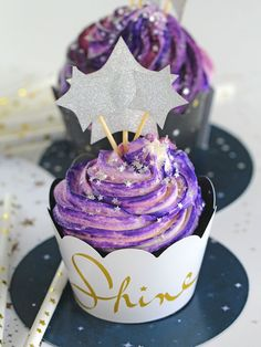 """Galaxy Cupcakes are made easy with the """"no colored buttercream"""" trick. No more mess and fuss, these Galaxy Cupcakes are so easy to make!"""