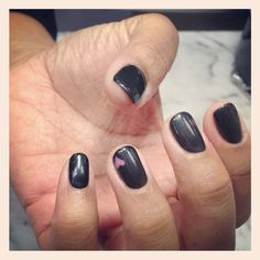 Shellac nails by Natalie slate grey with pink heart
