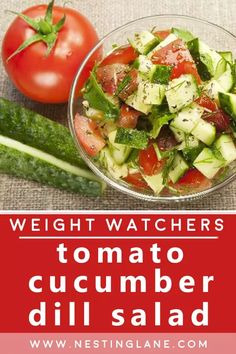 Weight Watchers Tomatoes Cucumber Dill Salad Recipe. Tomatoes, Cucumbers, and Onions with a Homemade Dill Dressing. A quick and easy WW lunch, snack, or side dish. This salad is ready in just 30 minutes. It holds up well in the refrigerator, so it makes a great option to take to work, or just to make ahead of time. Enjoy those summer vegetables! It's also healthy, Gluten Free, Low Carb, Vegetarian, and Low Calorie. MyWW Points: 3 Green Plan, 3 Smart Points. Dill Salad Recipe, Cucumber Dill Salad, Salad Recipes, Weight Watchers Salad, Weight Watchers Vegetarian, New Recipes, Vegetarian Recipes, Healthy Recipes, Summer Side Dishes