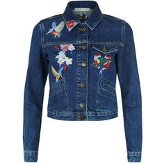 Maje Embroidered Denim Jacket (5.000 RUB) ❤ liked on Polyvore featuring outerwear, jackets, embroidery jackets, cropped jacket, blue denim jacket, pocket jacket and cropped jean jacket