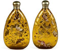 Antique Victorian era Raised Enamel Amber Glass Pocket Flask for Whisky, Moser, Bohemian Art Glass, c. 1850-80