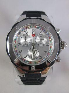 NEW Michele Black Tahitian Jelly Bean Topaz Carousel Watch MWW12F000080 Box NIB