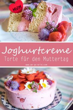 Muttertagstorte mit Erdbeeren und Joghurt – WE GO WILD Healthy, quick and easy: This is our Mother's Day cake. Recipe with yogurt and fresh strawberries. Russian Honey Cake, Cake Recipes, Dessert Recipes, Naked Cakes, Baking With Honey, Mothers Day Cake, Yogurt Recipes, Strawberry Cakes, Cake With Cream Cheese